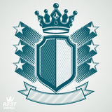 Empire stylized vector graphic symbol. Shield with 3d flying sta Stock Images