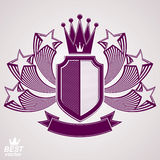 Empire stylized vector graphic symbol. Shield with 3d flying sta Royalty Free Stock Photos