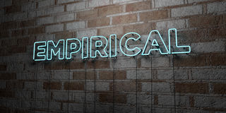 EMPIRICAL - Glowing Neon Sign on stonework wall - 3D rendered royalty free stock illustration. Can be used for online banner ads and direct mailers Stock Photography