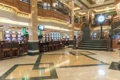 Empirowa kasyna, zegaru i schody MS królowa Elizabeth, Zdjęcia Royalty Free