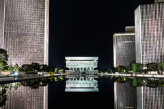 Empirowy stanu placu odbicie przy nocą Zdjęcia Royalty Free
