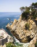 Emplacement de plongée de falaise d'Acapulco photo libre de droits