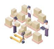 Emplacement de travail d'entrepôt. Centre serveur de distribution Image libre de droits