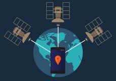 Emplacement satellite de téléphone de système de localisation mondial de GPS dépistant comment méthode technique Image stock