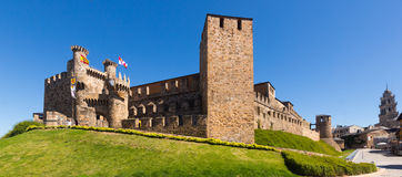 Emplar Castle and city street.  Ponferrada Royalty Free Stock Images