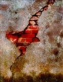 Emplastro danificado velho na parede de tijolo Fotografia de Stock