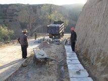 Emplazamiento de la obra de la construcción de la carretera Foto de archivo libre de regalías
