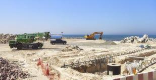 Emplazamiento de la obra de la playa entre Dubai y Sharja Foto de archivo libre de regalías