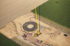 Emplazamiento de la obra de la turbina de viento Foto de archivo libre de regalías