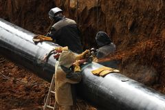Emplazamiento de la obra del oleoducto fotos de archivo