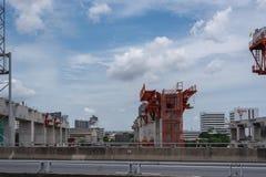 Emplazamiento de la obra del tren de cielo Bangsue-Rangsit imagenes de archivo