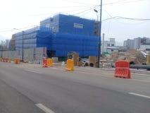 Emplazamiento de la obra en curso en la ciudad de Chuncheon en la provincia del kangwon imagen de archivo
