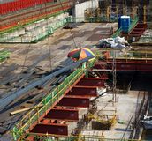 Emplazamiento de la obra grande del subterráneo fotos de archivo