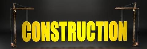 Emplazamiento de la obra simbolizado como grúas que llevan a cabo un logotipo grande de la construcción ilustración del vector