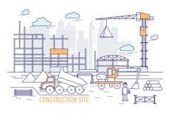 Emplazamiento o área de la obra con el edificio construido, grúa, excavador, camión volquete, casco que lleva del ingeniero contr ilustración del vector