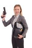 Empleado bonito con la arma de mano aislada en blanco fotos de archivo libres de regalías