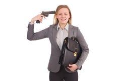 Empleado bonito con la arma de mano aislada en blanco imagen de archivo
