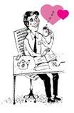 Empleado de la oficina en el amor (vector) Imagen de archivo libre de regalías