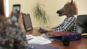 Empleado de oficina del psicópata que lleva una máscara del caballo durante el día laborable delante del ordenador metrajes