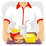 Empleado de sexo masculino del restaurante de los alimentos de preparación rápida que sostiene la bandeja con bocados comunes de  stock de ilustración