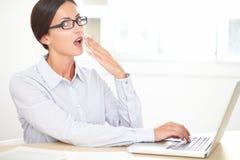 Empleado del negocio que trabaja en su ordenador Imagen de archivo