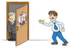 Empleado que juega el dardo en el retrato de su jefe ilustración del vector