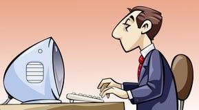 Empleado que trabaja en su ordenador Stock de ilustración