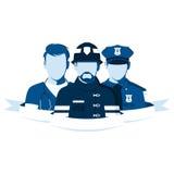 Empleados de la ambulancia, policía y cuerpo de bomberos Foto de archivo