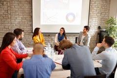 Empleados de la compañía en la reunión de negocios fotos de archivo