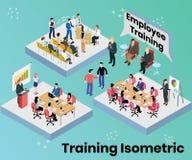 Empleados del entrenamiento de la compañía para el concepto isométrico de las ilustraciones de los trabajos imagenes de archivo