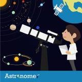 Empleo del astrónomo Imágenes de archivo libres de regalías