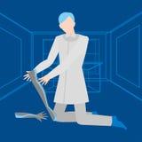 Empleo médico plano, medicina Clínica futura, profesión futurista del doctor Especialista de la robótica y de él tecnología ilustración del vector