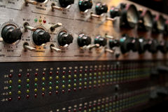 Emplifier. Close up of button of sound controller in the studio stock photos
