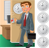 Employé de bureau avec la cuvette de thé ou de café Photo libre de droits