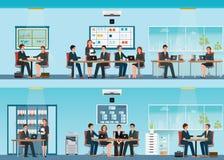 Employé de bureau avec le bureau et la réunion d'affaires ou le travail d'équipe illustration libre de droits