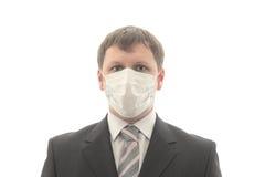 Employé de bureau dans le masque médical. Photographie stock libre de droits