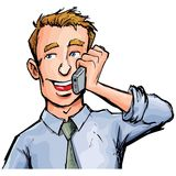 Employé de bureau de dessin animé au téléphone Images stock