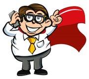 Employé de bureau de superhero de dessin animé Images stock