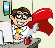 Employé de bureau de superhero de dessin animé Photo libre de droits