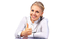 Employé de bureau donnant le signe de thumbs-up Photographie stock