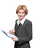 Employé de bureau féminin d'isolement sur le fond blanc Image stock