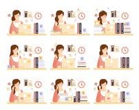 Employé de bureau féminin dans son espace d'exécution de compartiment des illustrations illustration de vecteur
