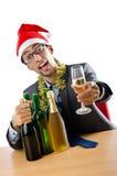 Employé de bureau ivre après Noël Photo stock