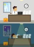 Employé de bureau jour et nuit Photo libre de droits
