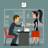 Employé de bureau parler de sourire de contact d'ordinateur portatif de bureau de cmputer d'homme d'affaires d'affaires à utilise Image stock