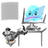 Employé de bureau pour un ordinateur cassé Photo libre de droits
