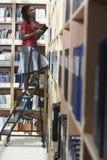Employé de bureau sur l'échelle dans la chambre de stockage de fichier Photographie stock