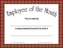 Employé de la récompense de mois avec   Images libres de droits
