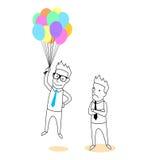 Employé tenant une bande dessinée de ballons Photos libres de droits