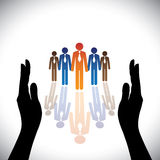 Employés d'entreprise (protégez) de société sûre de concept, cadres illustration libre de droits